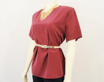Vintage Shirt 80s Vintage Blouse Grape Purple Lauren Lee Shoulder Pads, Short Sleeves Blouse, size M Modern M - L