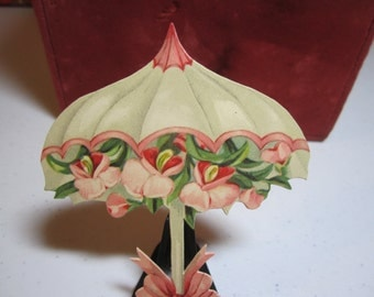 Gorgeous unused 1910's Germany place cards or decorative die cut umbrella filled with pink orchids
