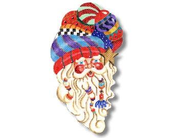 Needlepoint Christmas Ornament - Curly Que Santa