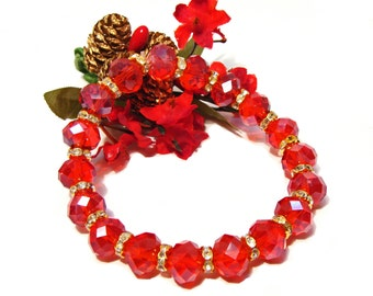 Red Faceted Crystal Rondelle Stretchy Bracelet with Goldtone Crystal Rondelle Spacer Beads
