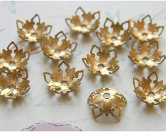 Raw Brass Bead Cap Ornate Vintage Style Filigree 8mm - 12 pcs. (r174)