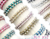 wrap bracelet kits - select any TWO crystal chain and leather wrap friendship bracelet kits