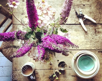 """Fine Art Limited Edition Signed Print of The 5ftinf Table, """"Purple Table"""" featuring Buddlea and a Cup of Tea."""