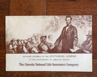 Vintage Souvenir Facsimile of the Gettysburg Address Lincoln Life