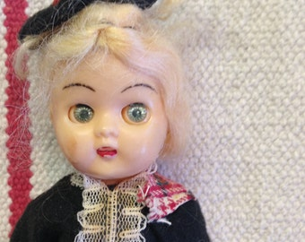 Vintage Doll Scottish Outfit hard plastic - Collectible -