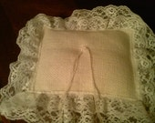 Ivory  Burlap ring pillow with ivory lace