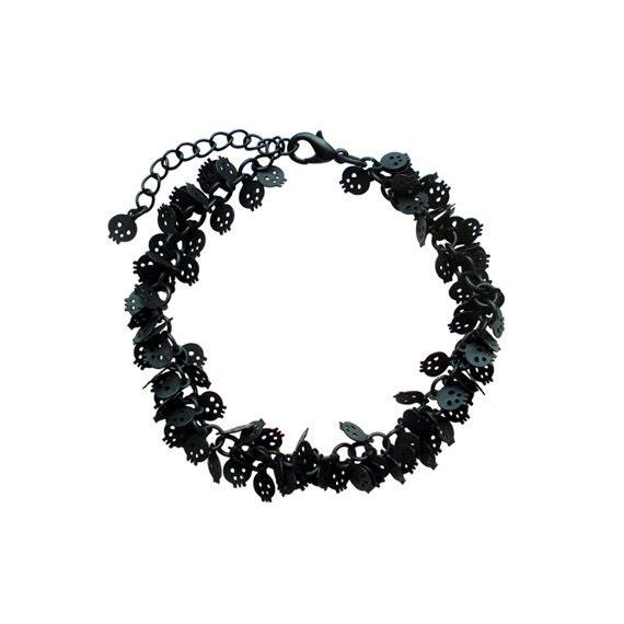 Charm Chain Bracelet - Black Skull