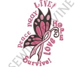 BREAST CANCER AWARENESS Embroidery Design Instant Download 3 Sizes Pink Ribbon Butterfly Stand Up To Cancer