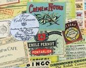 6384B - 1 yard  Cotton Linen Blend Fabric - Vintage Ticket Collage