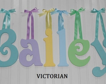 """SALE :) 8"""" Size Painted Wooden Wall Letters, Victorian plus Various other Fonts, Gifts and Decor for Nursery, Home, Playrooms, Dorms"""