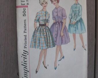 Simplicity Pattern 4519 Button Down Front Shirtwaist Dress Size 15 Vintage 1960s