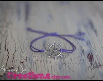 Ship Wheel Charm Bracelet - Lilac Purple - Slip Knot
