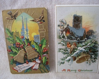 Two Antique Christmas Postcards featuring Churches, Bells and Birds