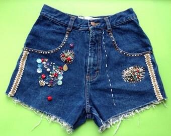 """Vintage girls embellished beaded  high waist Cropped Denim Shorts  W 24"""" Grunge Festival /fashion/ boho"""