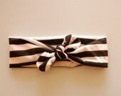 Black & White Striped Top Knot Headband, Woman, Toddler, Girl, Baby