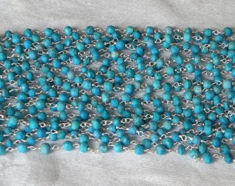 Blue Turquoise Chain 9 to 18 Inch Sterling Silver Rosary Chain Wire 4mm Blue Semiprecious Gemstone Beads Take 20% Off Jewelry Supply Chain