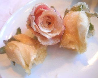 Organic Edible Roses Cake Toppers - Fresh Large, Edible Candied Crystallized - Real Roses, Flowers,