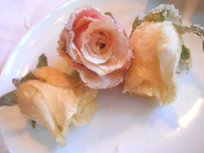 Edible Rose Cake Decoration : Organic Edible Roses Cake Toppers Fresh Large Edible