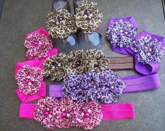 Stunning Chiffon Flower Headband with Matching Barefoot Sandals