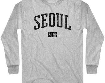LS Seoul T-shirt - Korea Long Sleeve Tee - Men and Kids - S M L XL 2x 3x 4x - 4 Colors