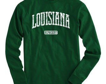 LS Louisiana T-shirt - Represent Long Sleeve Tee - Men and Kids - S M L XL 2x 3x 4x - 4 Colors