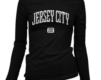 Women's Jersey City 201 LS T-shirt - Long Sleeve Ladies Tee - S M L XL 2x - New Jersey - 3 Colors