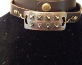 Bronze Spiked Leather Wrap Bracelet
