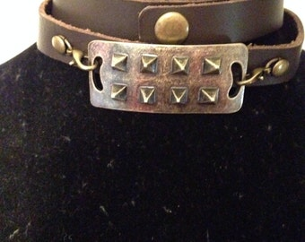 Bronze Spiked Leather Wrap Bracelet