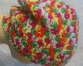 Neon slouchy beanie, unisex hat, teen hat, adult hat, white with neon beanie, neon pink, neon orange, neon green, neon yellow