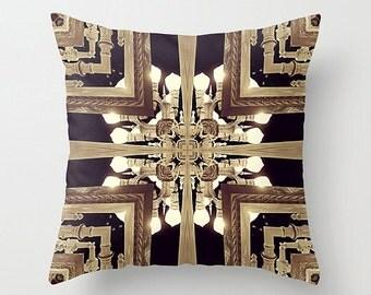 Golden Graphic Design Abstraction Pillow Cushion Case for Modern Urban Decor