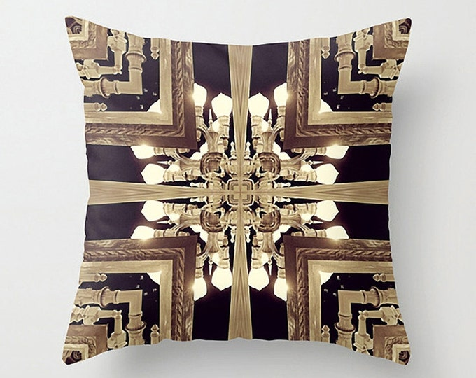 Golden Graphic Design Abstraction Pillow Cushion Case for Modern Urban Decor