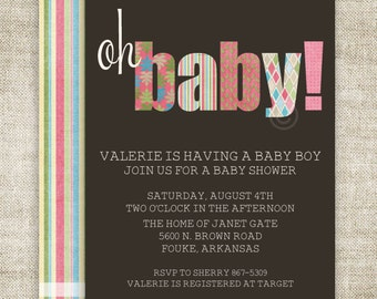 "GIRL BABY SHOWER Invitations ""Oh Baby"" Digital Printable Personalized - 81442882"