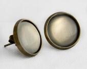 After the Storm Post Earrings in Antique Bronze - Warm Grey Stud Earrings