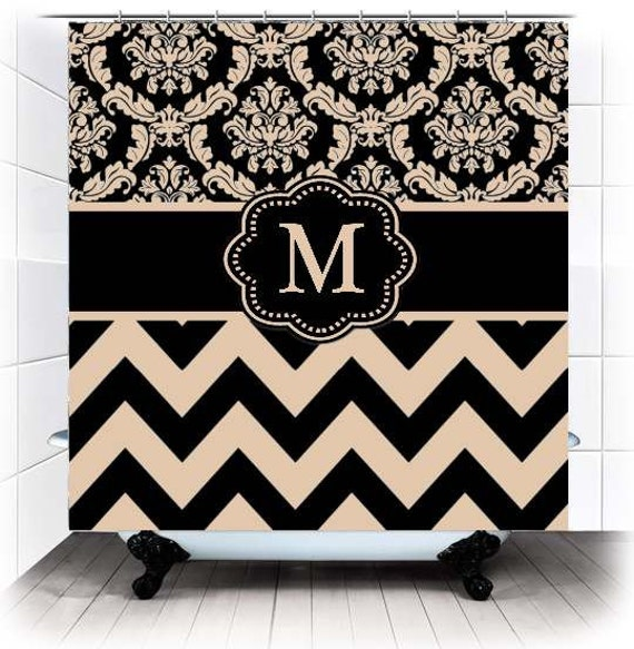 Items Similar To Black Tan Damask Chevron Monogram Fabric Shower Curtain You Choose Accent