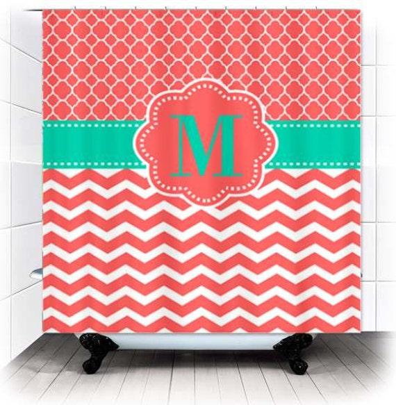 ... Chevron Monogram Fabric Shower Curtain - You choose accent color
