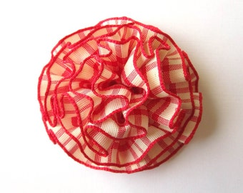 Small Red Plaid Hair Flower or Pin - Custom