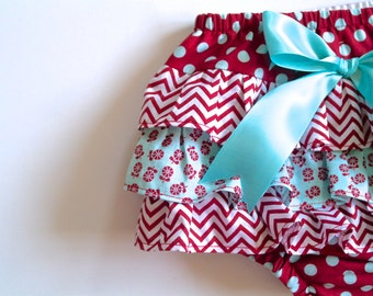 Baby Girl Bloomer-Spring-Easter-Red and Aqua-Polka dot diaper cover-Red chevron-ruffle diaper cover-Fall-Baby Girl Fall