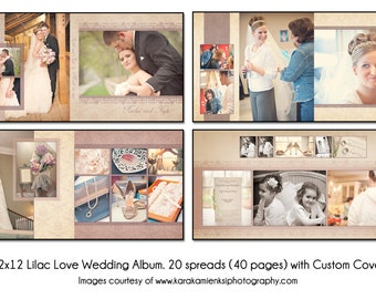 LILAC LOVE - 12x12 Album Template 20 spread (40 page) Design With Custom Cover, Digital File