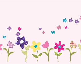 NEW LOOK Kids row of flowers with butterflies vinyl wall decal cute for any nursery or girls room