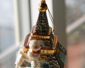 Vintage Eiffel Tower and French Poodle Glass Ornament.