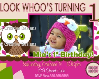 1st Birthday Girl Owl Invite Owl Invitation Look Whoos Turning one invitation - OWL Theme - Birthday Party Invite - photo pictures 1 year