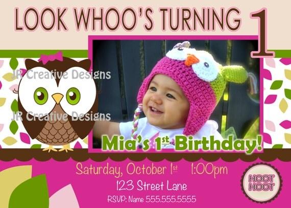 St Birthday Girl Owl Invite Owl Invitation Look Whoos Turning One - 1st birthday invitations girl owl