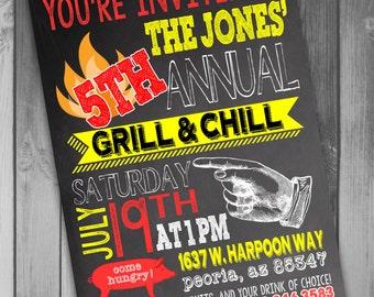 BBQ Invitation Bbq Invite Bbq Party Barbecue Invitation Printable BBQ Invitation Summer Party Invitation Swim Party Invitation