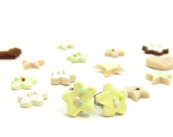 Cookie Earrings Polymer Clay Posts Yellow Frosted Sugar Cookies with Sprinkles Girls Earrings