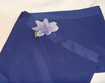 Vintage Medium Blue Ladies Long Nylon Neck Scarf