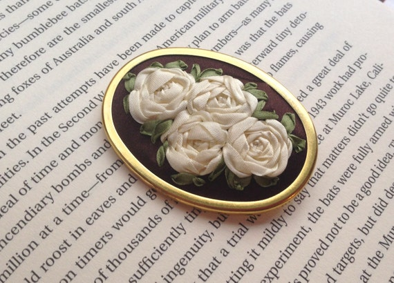 Chocolate Brown and White Embroidered Silk Flower Brooch - Silk RIbbon Embroidery by BeanTown Embroidery