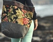 Explorer Tote -- Black Floral -- Waxed Canvas -- Leather