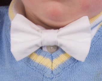 Solid White Bow Tie  - Baby Toddler Child Boys