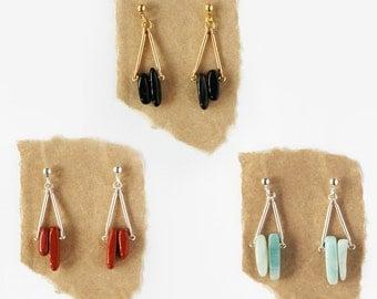 Semi-Precious Triangle Earrings - Onyx, Red Jasper, Amazonite - Dangle Earrings - Tribal Earrings