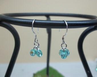 Girls Earrings Aquamarine Earrings Crystal Earrings Girls Dangle Earrings AB Sky Blue Cluster Earrings 925 Sterling BuyAny3items+Get1 Free